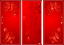 Flower banners by day of sacred Valentine in red s. Three flower banners by day of sacred Valentine in red scale Stock Photography