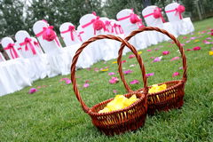 Flower basket. At the wedding Royalty Free Stock Photos