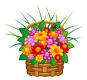 Flower in basket vector illustration