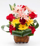 Flower in basket. Rose and gerbera in basket Royalty Free Stock Images