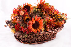 Flower basket. A basket full of fall flowers stock images
