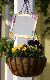 Flower Basket. With Chalkboard Stock Photos