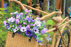 Flower basket on bamboo bike Royalty Free Stock Photos