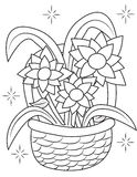 Flower basket coloring page Stock Images