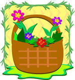 Flower Basket in a Frame Royalty Free Stock Photography