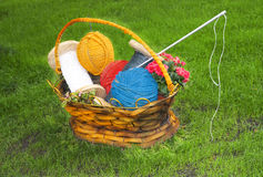 Flower basket with thread for knitting Royalty Free Stock Photography