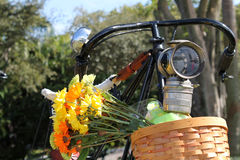 Flower basket on vintage bike Royalty Free Stock Photos