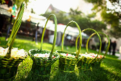Flower Basket at wedding Stock Images