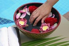 Flower bath. Thai style flower bath with towel on hotel pool Stock Image