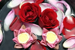 Flower bath. Thai style flower bath with lotus and roses Stock Photo