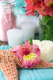 Flower with bath salts and soa Stock Photo