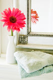 Flower in a bathroom Royalty Free Stock Images