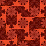 Flower batik style symmetry seamless pattern. This illustration is drawing flower with batik style color, symmetry in brown color seamless pattern Royalty Free Stock Photos