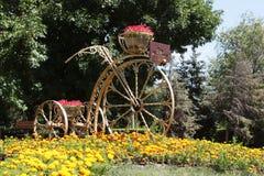 Flower bed Bicycle. Volgograd, Russia Stock Photo