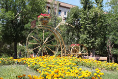 Flower bed Bicycle. Volgograd, Russia Royalty Free Stock Photo