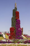 Flower bed in the form of Burj Khalifa tower Stock Photo