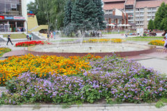 Flower-bed and fountains in Drohobych town. Drohobych / Ukraine - 25 July 2013: big flower-bed and fountains in Drohobych town Royalty Free Stock Photography