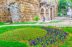The flower bed at Hadrian`s Gate Stock Images