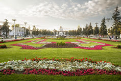 Flower bed in VDNH park, Moscow, Russia Stock Photography