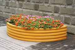 Flower bed with wall Stock Photos