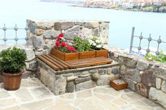 Flower bed in wooden frame on sea. Whole background Stock Photography