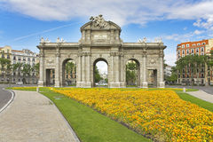 Flower beds before the Royal Triumphal arch Royalty Free Stock Image