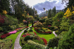 Flower beds of and walking paths. Butchart Gardens -  gardens on Vancouver Island. Flower beds of colorful flowers and walking paths for tourists. The world Royalty Free Stock Images