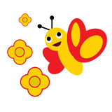 Flower bee. A vector illustration of flowers and a bee Stock Images