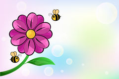 Flower and bee. On colorful background,  illustration Royalty Free Stock Photos
