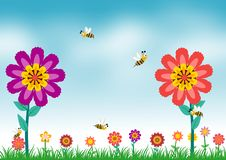 Flower and bee in the meadow. Flower and bee in summer time playing in the meadow illustrations concept stock illustration