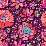 Flower bee seamless pattern Royalty Free Stock Photos