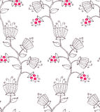 Flower and berry. Seamless floral pattern with stylized flower and berry vector illustration