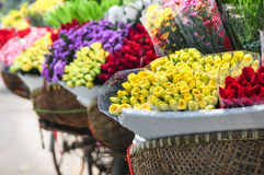 Flower bicycle at small market Stock Photography