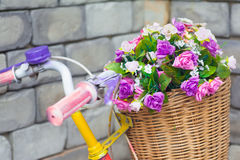 Flower on bicycle Royalty Free Stock Image