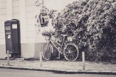 Flower Bike. In medias ,medieval town Stock Photo