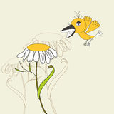 Flower with bird. Universal template for greeting card, web page, background Stock Photography