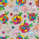 Flower bird aroma seamless pattern. This illustration is design abstract cartoon bird curios the aroma flower in seamless pattern vector illustration