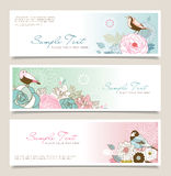 Flower & bird banner Royalty Free Stock Photography
