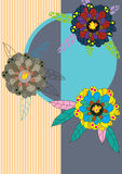 Flower Chick Card_eps. Illustration of flower design with chick inside Royalty Free Stock Photography