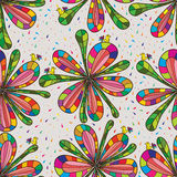 Flower bird colorful seamless pattern Royalty Free Stock Photos