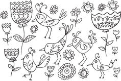 Flower Bird Doodle Set Stock Photography