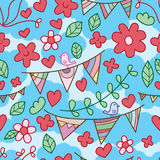 Flower bird flag celebration seamless pattern Stock Image