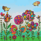 Flower bird fly card drawing Stock Photography