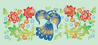 Flower and bird stripe pattern royalty free illustration