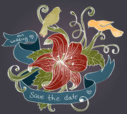 Flower, birds and ribbon. Old fashion background with flower, birds and ribbon for design, illustration Royalty Free Stock Photos