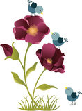 Flower with birds. Scalable vectorial image representing a flower with birds,  on white Stock Photo