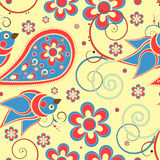 Flower and birds seamless pattern Stock Images