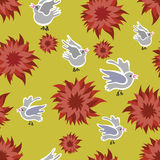 Flower and birds seamless. Seamless pattern of red peonies and birds Stock Photo
