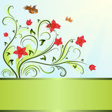 Flower and birds spring background. Flower and birds spring vector background with copy space Royalty Free Stock Images