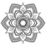 Flower black Mandala. Oriental pattern, vector illustration. Islam, Arabic, Indian ottoman motifs. Coloring book page Royalty Free Stock Image